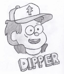 A drawing of Dipper Pines, the main character of the Disney show Gravity Falls.