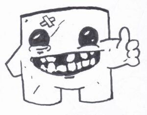 A FanArt drawing of Super Meat Boy from the game named after him, made by Edmund McMillen.