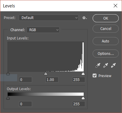 The Levels window in Photoshop.