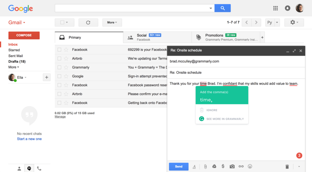 The Grammarly browser extension can help you write better emails and other documents.