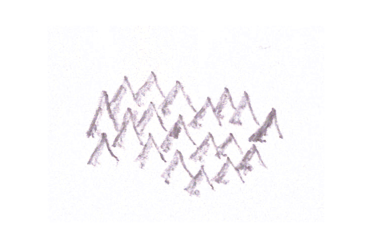 The second step when drawing mountains for maps is to draw their shadows.