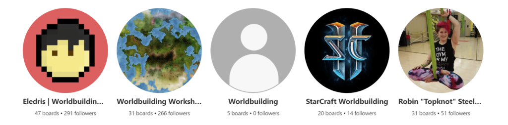 "The search for ""worldbuilding"" on Pinterest yields my profile as the first result."