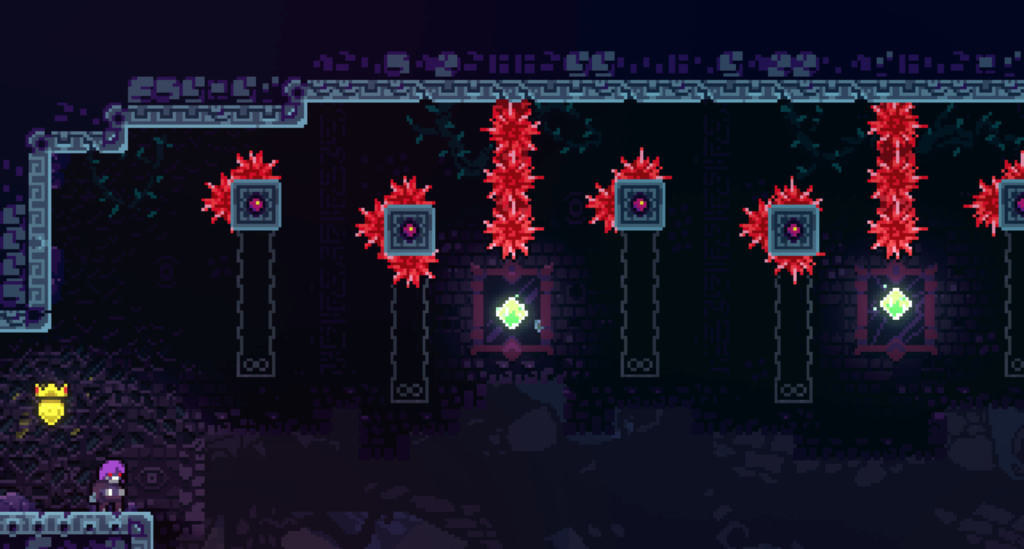 One of the C-side levels of the Mirror Temple chapter of Celeste, the 2d platformer video game.