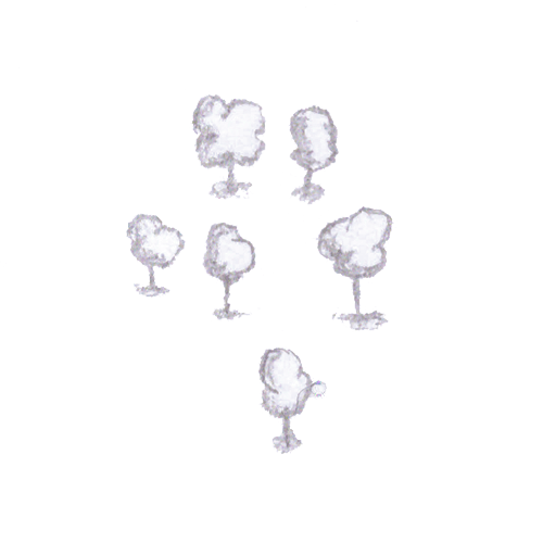 A few of the bubbly trees with shadows.