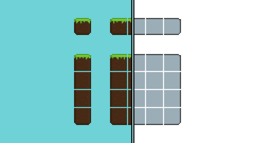 A template used to create pixel-art tilesets. A tileset can be used to create complex, intricate worlds/levels, using only a small number of blocks, or tiles.