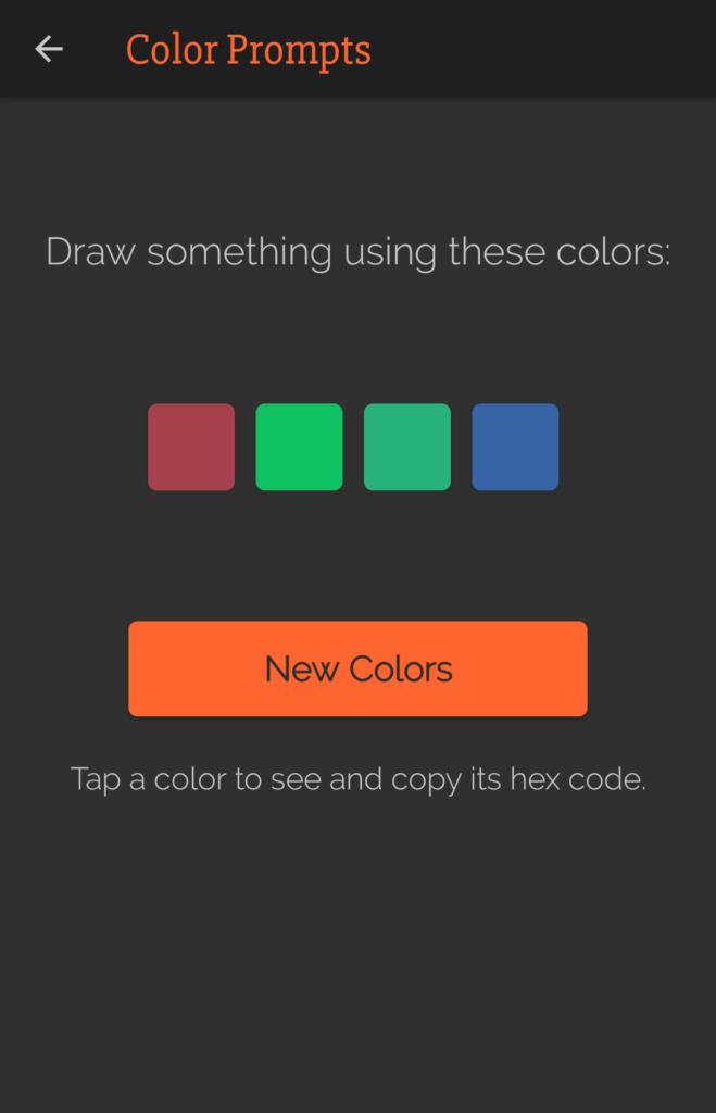 The colors category of the Art Prompts app.