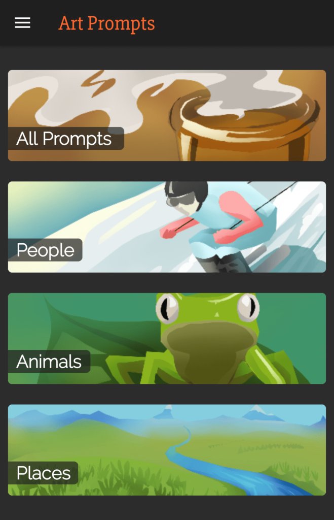 The top of Art Prompts' homepage.