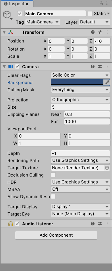 A screenshot of Unity's Inspector window, with the Main Camera object selected.